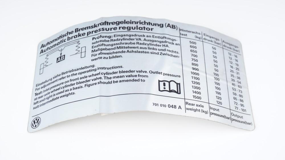 701 010 048 A Kennschild für Bremskraftregeleinrichtung